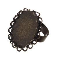 Ring für ovale Cabochons 25 x 18 mm,zum Einkleben, bronzefarben