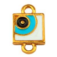Armbandverbinder Viereck, Augenmotiv mit 2 Ösen, vergoldet und emailliert
