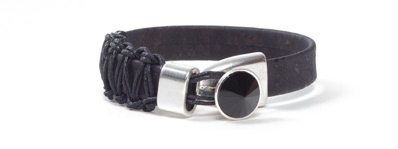 Armband breites Korkband Rivoli Schwarz