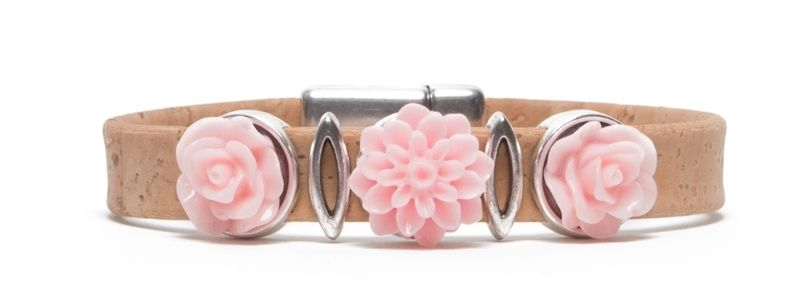Korkarmband mit Blumencabochon Rosa