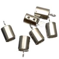 6 Endkappen für Bänder bis 4 mm, silberfarben