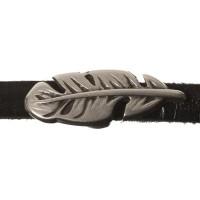 Metallperle Mini-Slider Feder, versilbert, ca. 21 x 7mm