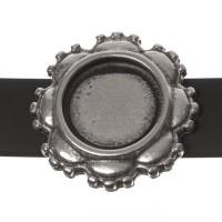Fassung Slider / Schiebeperle für runde Cabochons 12 mm, versilbert