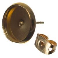 Ohrstecker mit Fassungen für Cabochon, rund 10 mm, goldfarben