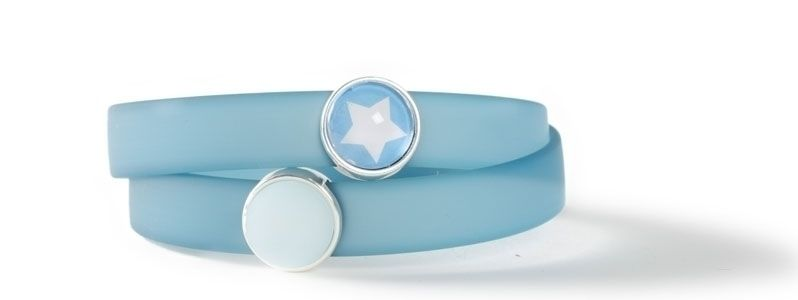 Wickelarmband mit Sliderperlen Türkisblau