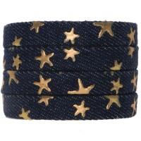 Denim Baumwollband, kornblumenblau mit goldfarbenen Sternen, 10 x 2 mm, Länge 1 m
