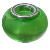 Polaris-Bead, Linse, 12 x 7,5 mm, grün glänzend
