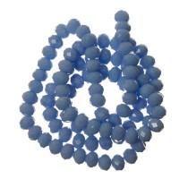 Strang Glasfacett  Rondell, 4 x 6 mm,  hellblau opak, Länge des Strangs ca. 40 cm