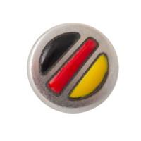 Metallperle Mini-Slider Deutschland, versilbert, ca. 9 mm, Durchmesser Fädelöffnung:  5,2 x 2,0 m