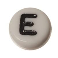 Kunststoffperle Buchstabe E, runde Scheibe, 7 x 3,7 mm, weiß mit schwarzer Schrift