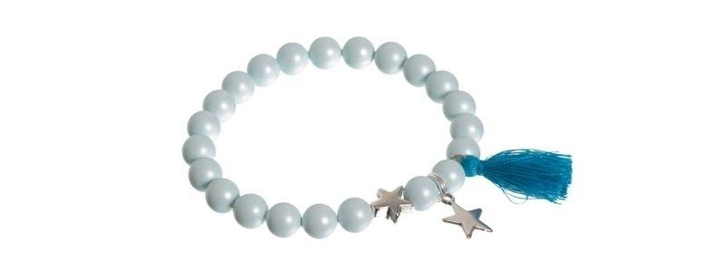 Quastenarmband Stern blau