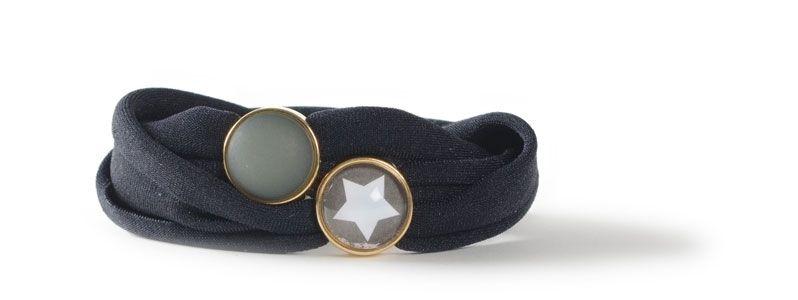 Lycra-Armband mit Sliderperlen Schwarz