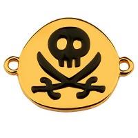 Armbandverbinder Piratenflagge mit Totenkopf, 22 x 17 mm, emailliert, vergoldet