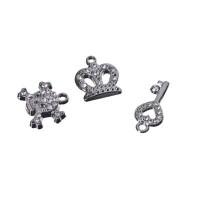 Metallanhänger mit Strass, Krone, Totenkopf, Schlüssel, 3 Stück, silberfarben