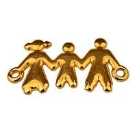 Armbandverbinder Familie mit 3 Personen, 24 x 13 mm, vergoldet