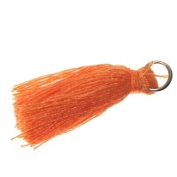 Quaste/Troddel, 25 - 30 mm, Baumwollgarn mit Öse (silberfarben), orange