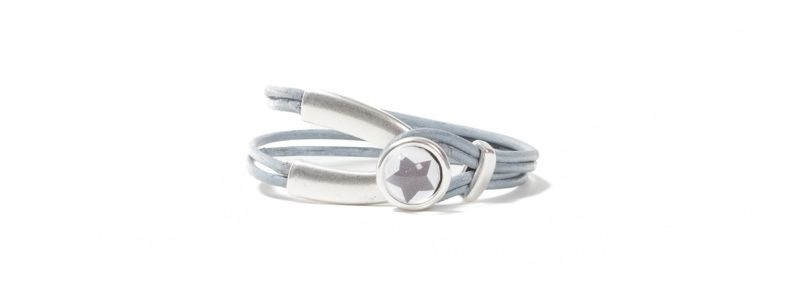 Armband Metall & Leder Cabochon Stern Grau
