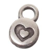 Metallanhänger Minicharm Herz, Durchmesser 9 x 6 mm, versilbert