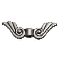 Metallperle Flügel, ca. 9 x 27, 5 mm, versilbert