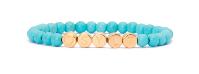 Armband mit vergoldeten Buchstabenperlen Sylt