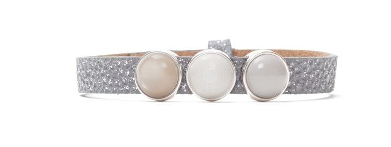 Armband Neutral Gray mit Slidern und Polariscabochons einfach