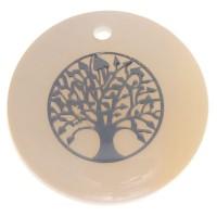 Perlmutt Anhänger, rund, Motiv Baum des Lebens silberfarben, Durchmesser 16 mm