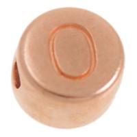 Metallperle, O Buchstabe, rund, Durchmesser 7 mm, rosevergoldet