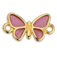 Armbandverbinder Schmetterling, Vitraux, Glasfarbe: rosa, 17 x 9,5 mm, vergoldet
