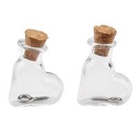 Mini Glasflaschen, 19 x 9 x 25 mm, Herz, mit Korkenverschluss und Aufhängeöse, 2 Stück