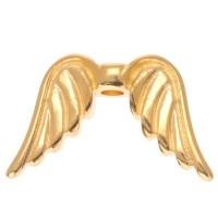 Metallperle Engelsflügel, 15 x 9 mm, vergoldet