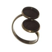 Ringschiene mit Fassungen für Cabochons, rund 12 mm, verstellbar, bronzefarben
