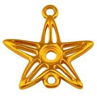 Armbandverbinder Seestern mit Fassung für Chatons PP32, 19,5 x 19 mm, vergoldet