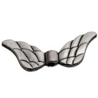 Metallperle Flügel, ca. 11 x 30 mm, versilbert