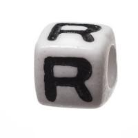 Kunststoffperle Buchstabe R, Würfel, 7 x 7 mm, weiß mit schwarzer Schrift