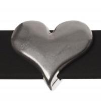 Metallperle Slider / Schiebeperle Herz, versilbert, ca. 16 x 13,5  mm