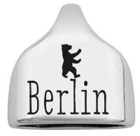 """Endkappe mit Gravur """"Berlin"""" mit Berliner Bär, 22,5 x 23 mm, versilbert, geeignet für 10 mm Segelsei"""