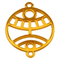 Armbandverbinder Rund mit Ethno-Auge mit 2 Ösen, vergoldet