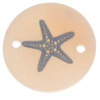 Perlmutt Armbandverbinder, rund, Motiv Seestern silberfarben, Durchmesser 16 mm