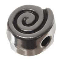 Metallperle, Schnecke, ca. 11 x 6 mm, versilbert