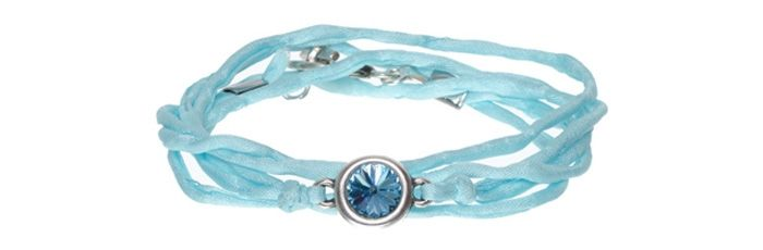 Seidenarmband Aquamarine