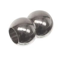 Magnetverschluss, Doppelkugel, 10 x 15 mm, Innen 5 mm, silberfarben