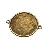 Anhänger/Fassung für Cabochons, rund 25 mm, 2 Ösen, antik bronzefarben