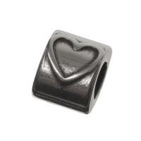 Metallperle Herz für 5 mm Segelseil, 8 x 10 mm, versilbert