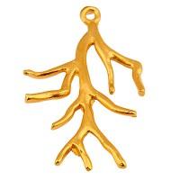 Metallanhänger Koralle,  37,5 x 24 mm, vergoldet