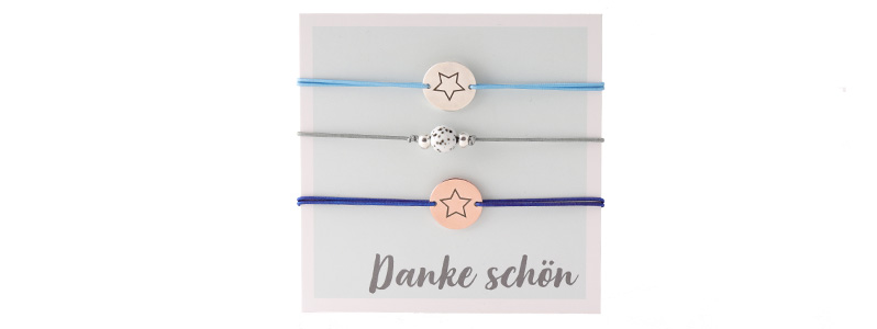 """Set Armbänder mit Coins """"Danke schön"""""""