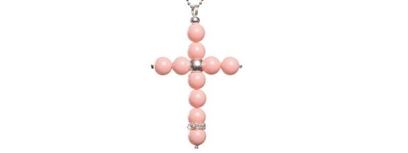 Kette mit Kreuzanhänger Pink Coral