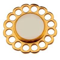Metallanhänger Rund, Durchmesser 24 mm, weiß emailliert, vergoldet
