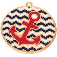 Metallanhänger Rund mit Anker, Durchmesser 30 mm, vergoldet, rot emailliert