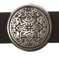 Metallperle Slider Scheibe Mandala, versilbert, ca. 23,0 mm