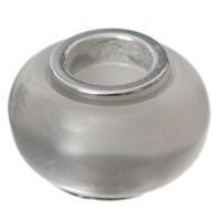 Polaris-Bead, Linse, 12 x 7,5 mm, dunkelgrau glänzend